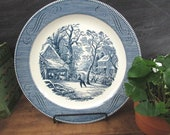Blue White Chop Plate Round Cake pLatter Currier And Ives A Snowy Morning by Royal