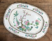 Oval Platter Edwin Knowles Indian Tree Platter Serving Dish 15 x 11 1 4 quot Antique Display Transferware Ironstone