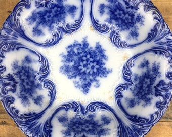 Vintage Old Bonn Malta Germany Flow Blue White Tab Handle Cake Plate Embossed
