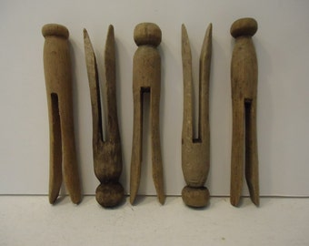 Vintage Wooden Clothespins  Set of FIVE