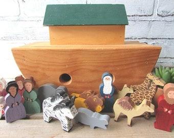 Noah's Ark Toy Wood Handmade Vintage Noah and The Ark Rustic Toy
