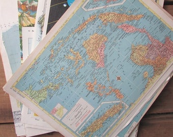 75+ Map Pages Vintage Paper Ephemera Atlas Pages DIfferent Sizes Scrapbook Paper Craft Supply