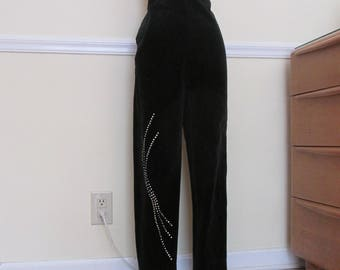 Dazzling Vintage 1950s 50s Frederick's of Hollywood Style Black Velvet Cigarette Pants with Sparkly Rhinestones -Bad Girl-Pinup-Bombshell