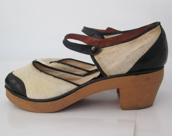 6117e7d5f65bd7 Rare Vintage 1930s 30s 1940s 40s French Black   White Spectator Sandals  w Wood Soles -Deadstock- Art Deco-Swing-Zazou-WWII-Homefront-Wartime