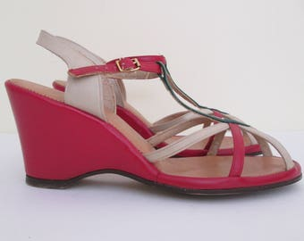 aa1201345dcb0 Gorgeous Vintage 1940s 40s Primary Colors Leather Strap Sandals Wedges -Old  Hollywood-Glamour-Pinup-Bombshell-Vixen-VLV
