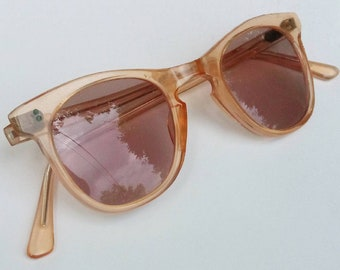8e03b18e9b5a Original Vintage 1940s 40s Clear Salmon Celluloid Sunglasses Eyeglasses  Eyewear -Deadstock- Art-Deco-Swing-WWII-Homefront-French-France
