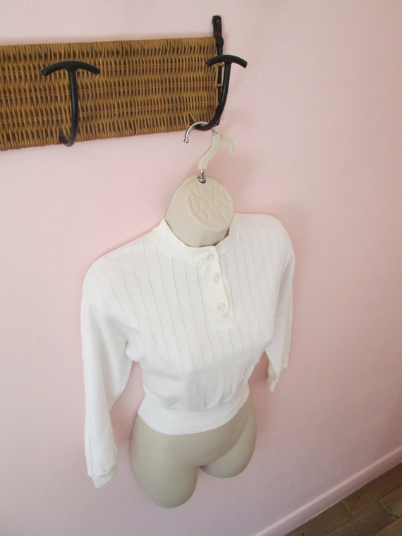 Ultimate Wild One Vintage 1950s 50s White Knit Top