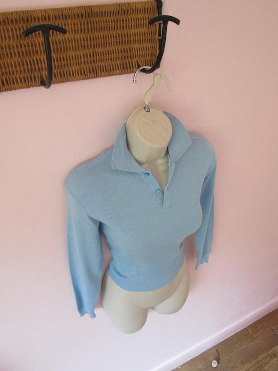 Hot Rod Girl Vintage 1950s 50s Light Blue Knit Jum