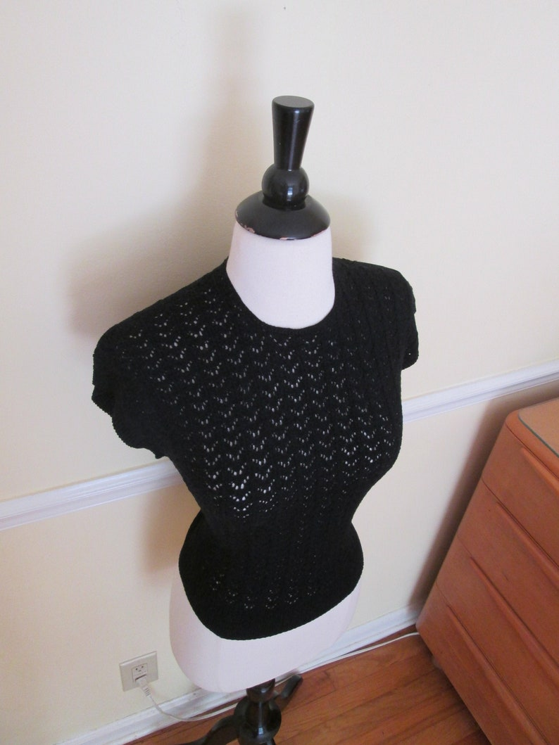 Bombshell Best Vintage 1950s 50s Black Cotton Crocheted Cable Knit Top Jumper wBat Wings Print and High Waistband Bad Girl-JD-Vixen-Pinup