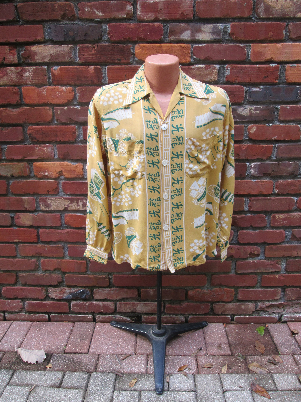 1121111335171e Rare Vintage 1940s 40s Hawaiian Long Sleeve Pointy Collar Cold