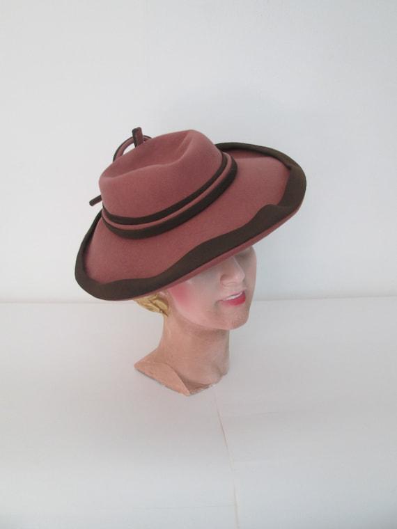 Gorgeous Vintage 1930s 30s Rosewood & Brown Wool F