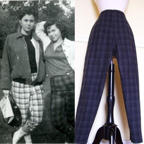 Fabulous Vintage 1950s 50s Ink Black & Grey Wool P