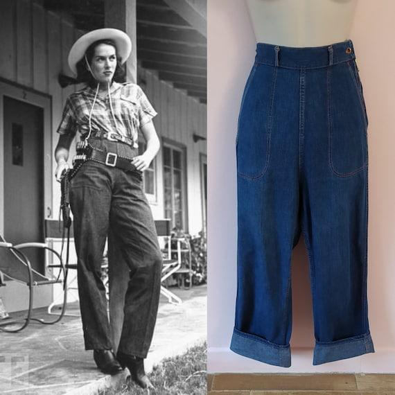 Vintage 1940s 40s 1950s 50s Indigo High Waist Deni