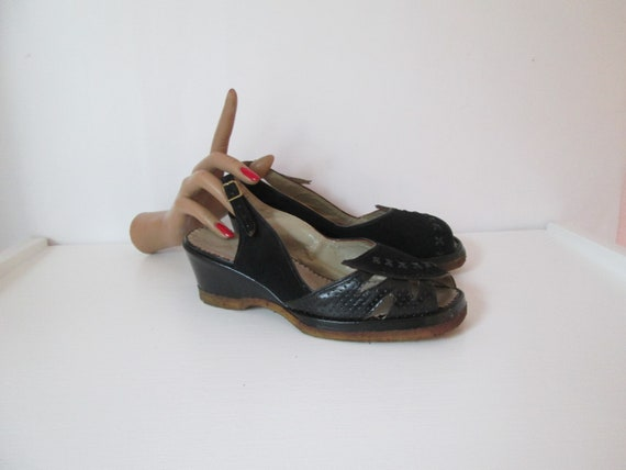 Stunning Vintage 1940s 40s French Black Suede and