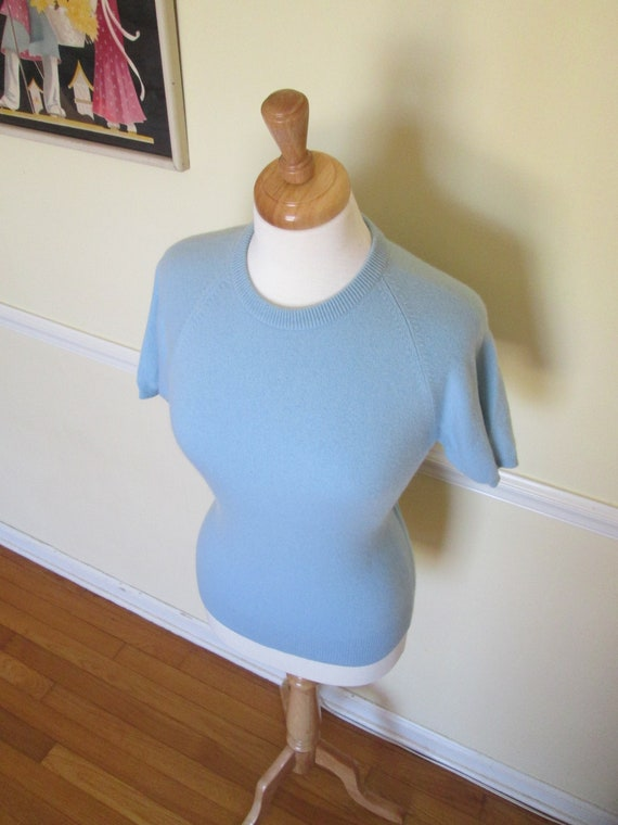 Sweater Girl Vintage 1950s 50s Periwinkle Blue Cas