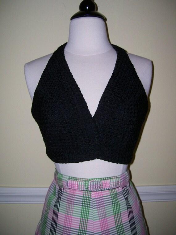Gorgeous Vintage 1950s 50s Black Ribbon Woven Knit