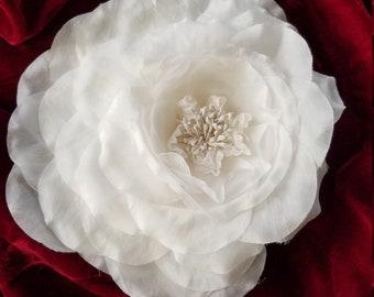 Large white silk flower