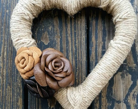 Leather and Jute Heart Shaped Wreath