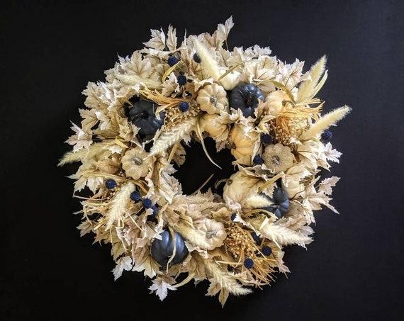 Thanksgiving Wreath - Fall Wreath - Halloween Wreath -Pumpkin Wreath - Blue and Cream Pumpkin Wreath