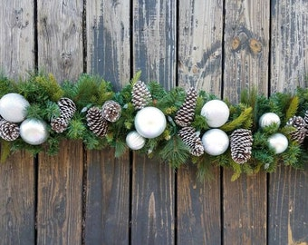 garland holiday garland christmas garland mantel garland fireplace garland 6 foot pine garland with pine cones and silver ornaments