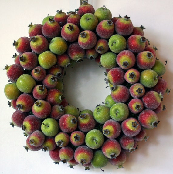 Fruit Wreath, Sugared Apple and Pomegranate Fruit Wreath