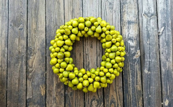 Pear Wreath, Fruit Wreath, Green Pear Wreath