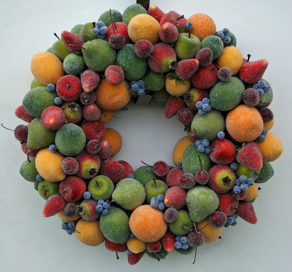 Christmas Wreath, Sugared Fruit Wreath