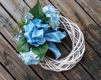 Spring Wreath, Summer Wreath, Mother's Day Wreath, Easter Wreath, Blue Hydrangea Wreath, Ready to Ship