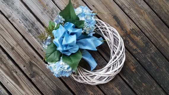 Spring Wreath, Summer Wreath, Mother's Day Wreath, Easter Wreath, Blue Hydrangea Wreath, Ready to Ship