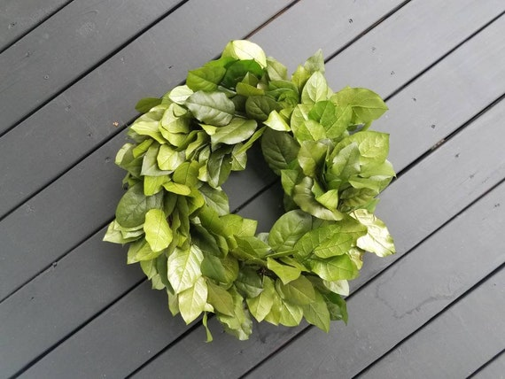 Wreath -  Dried Flower Wreath  -  Lemon Leaf Wreath - Salal Wreath - Wedding Wreath