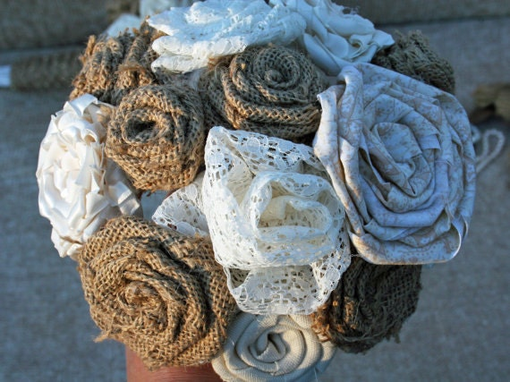 Bouquet, Burlap and Lace Bridal Bouquet