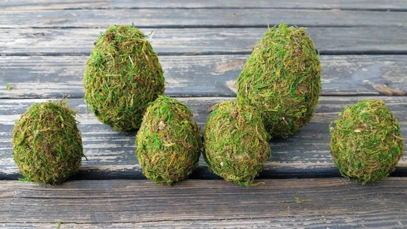 Decorative Easter Eggs, Rustic Eggs, Moss Covered Eggs