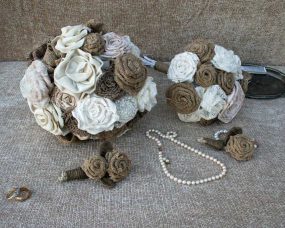 Bouquets, 4 Piece Bouquet and Boutonniere Burlap and Lace Package