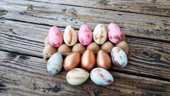 Decorative Easter Eggs, Easter Eggs, Metallic Eggs, Metal Leaf Eggs, Gilded Eggs, Distressed Rose Gold Eggs