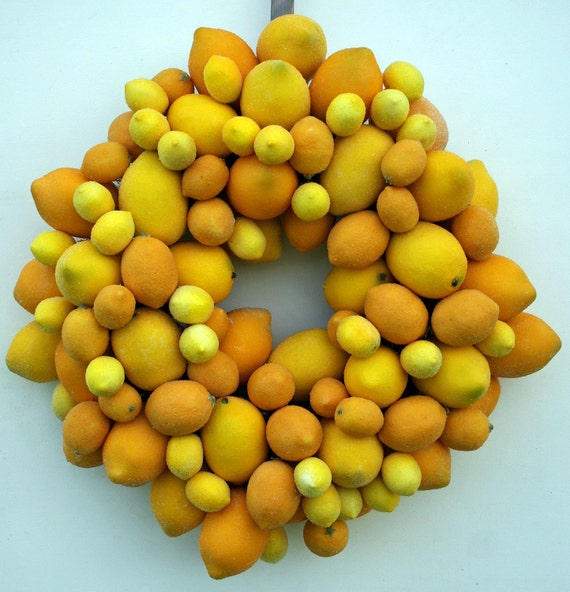 Fruit Wreath, Lemon Wreath, Sugared Fruit Wreath