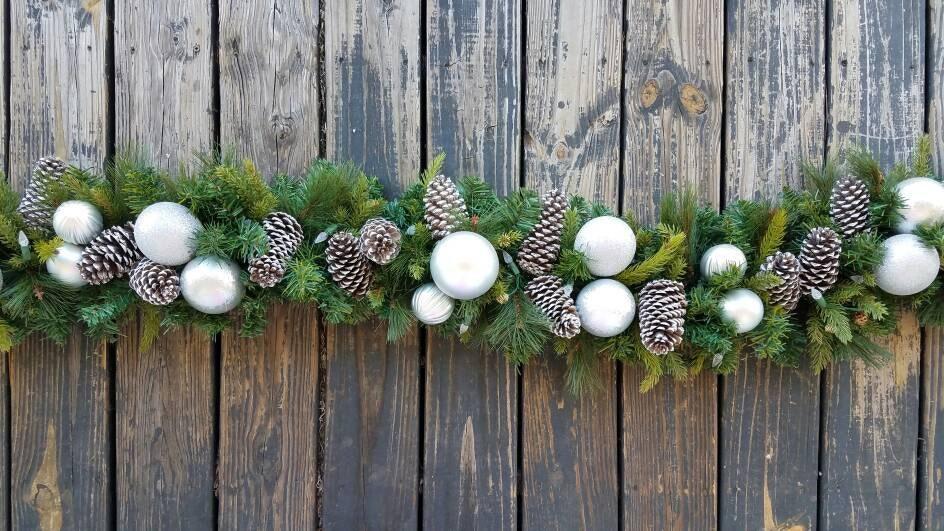 Garland, Holiday Garland, Christmas Garland, Mantel Garland, Fireplace  Garland, 6 Foot Pine Garland With Pine Cones And Silver Ornaments