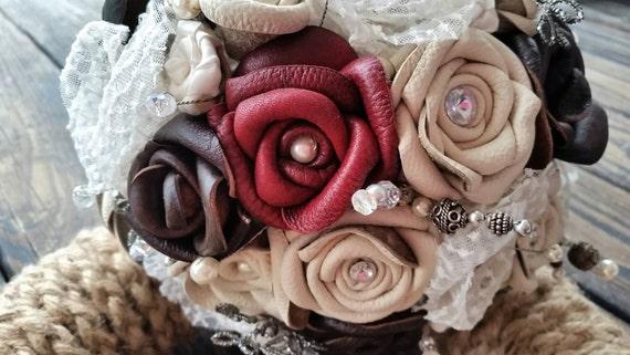 Bouquet, Leather and Lace Bridal Bouquet
