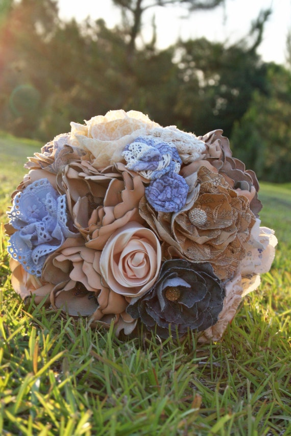 Bridal Bouquet, Leather, Lace, Burlap, and Fabric bridal Bouquet
