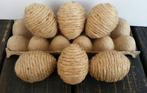 Decorative Easter Eggs, Rustic Eggs, Jute Wrapped Eggs