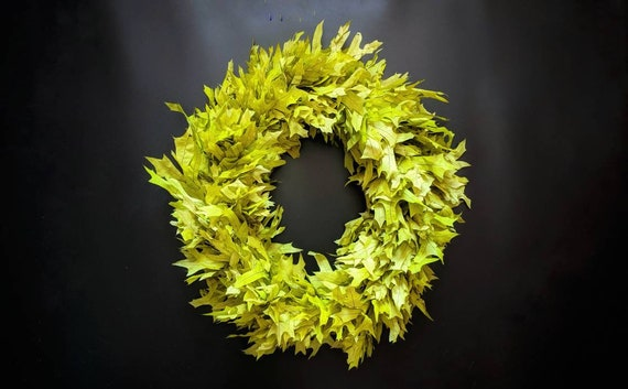 Wreath -  Dried Flower Wreath  - Leaf Wreath - Oak Leaf Wreath - Fall Wreath - Christmas Wreath - Green Oak Leaf Wreath