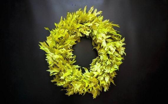 Wreath -  Dried Flower Wreath  - Leaf Wreath - Oak Leaf Wreath - Fall Wreath - Christmas Wreath - Green Oak Leaf Wreath