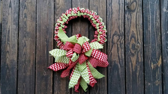 Christmas Wreath, Holiday Wreath, Ribbon Wreath, Christmas Ribbon Wreath