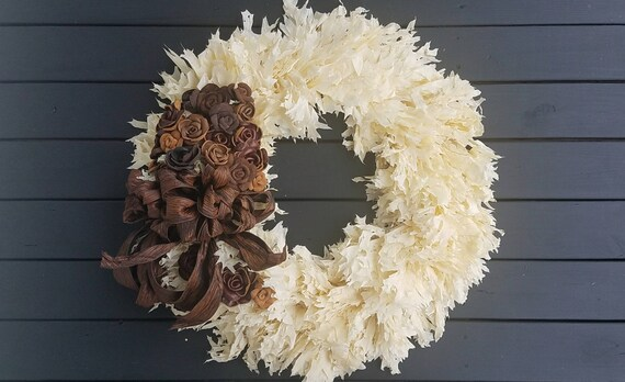 Wreath -  Dried Flower Wreath  - Oak Leaf Wreath - Fall Wreath - Christmas Wreath