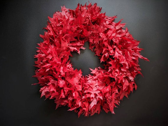 Wreath -  Dried Flower Wreath  - Leaf Wreath - Oak Leaf Wreath - Fall Wreath - Christmas Wreath - Red Oak Leaf Wreath - Thanksgiving Wreath