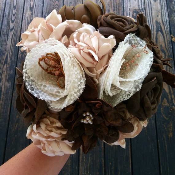 Bridal Bouquet, Leather Flower Bridal Bouquet