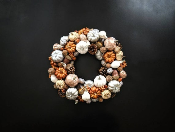 Thanksgiving Wreath, Pumpkin and Acorn Wreath, Fall Wreath, Halloween Wreath, Autumn Wreath, Metallic Pumpkin Wreath