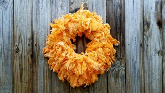Halloween Wreath, Hand Dyed Orange Gauze Wreath, Ombre Wreath, Orange Ombre Wreath