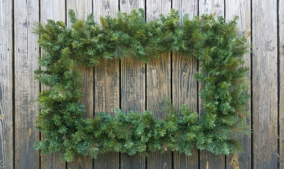 Christmas Wreath, Holiday Wreath, Pine Wreath, Rectangular Christmas Wreath, XXL Wreath, Large Wreath
