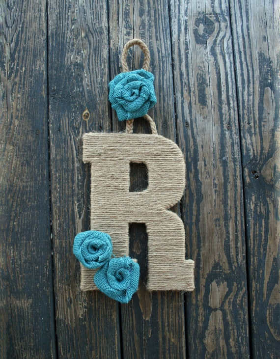Decorative Letter Door Hanger, Jute Rope Wrapped Letter Wreath Alternative