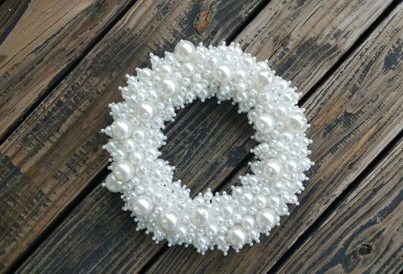 Pearl Wreath, Jeweled Wreath, Wedding Wreath, Holiday Wreath, Christmas Wreath